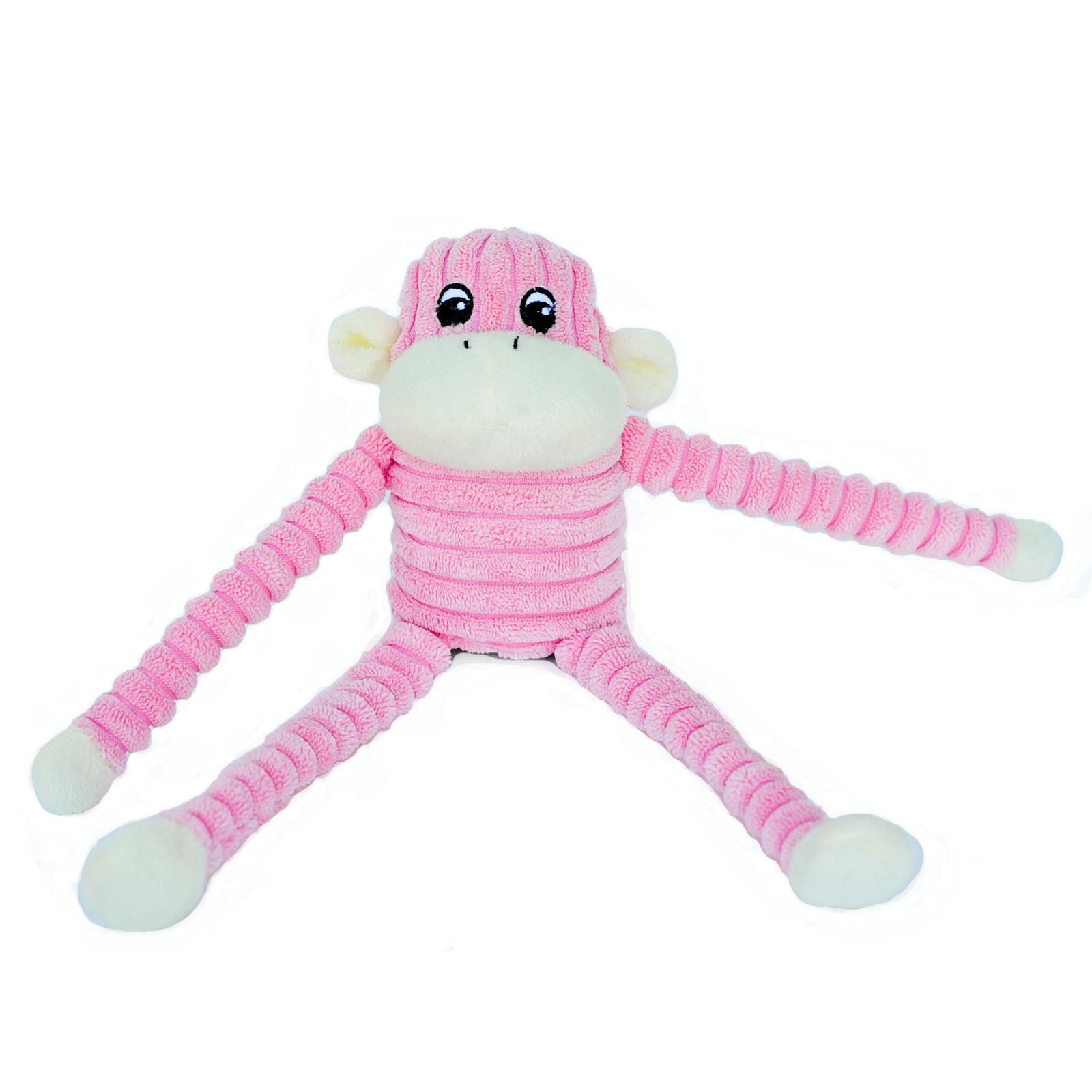 Pink Dog Toy : Zippy paws spencer the crinkle monkey squeaker dog toy
