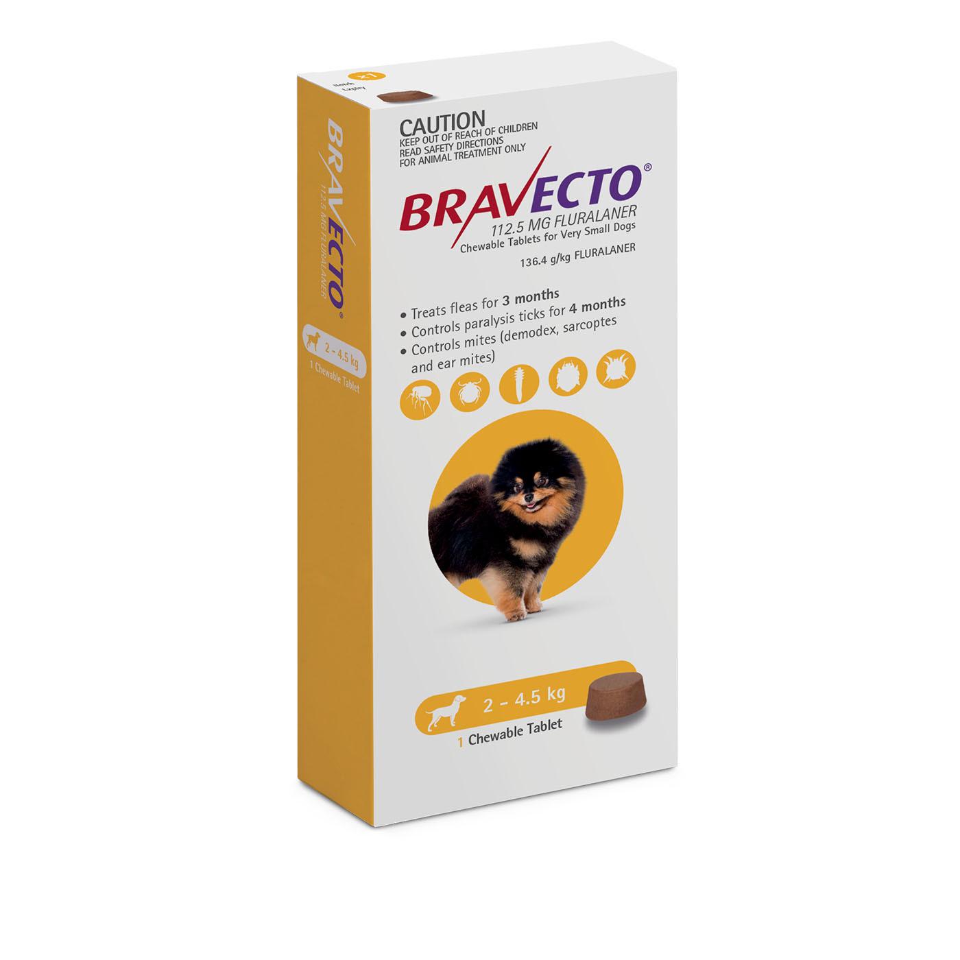 Bravecto Very Small Dog Yellow 2 4 5kg Single Chew Flea