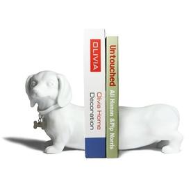 Ceramic Dachshund Bookends - White