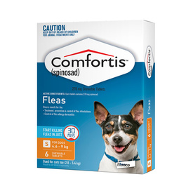 Comfortis Chewable Tablet for Dogs 4.6-9kg & Medium Cats (Orange) - 6-Pack