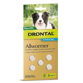 Drontal All-Wormer for Medium Dogs to 10kg - 5 Tablets