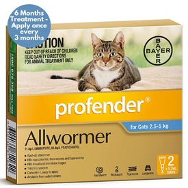 Profender Spot-on Allwormer for Cats 2.5kg to 5kg - Blue 2 Pack