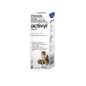 Activyl Spot-On Flea Control for Cats Over 4kg - Dark Blue (Single Dose)