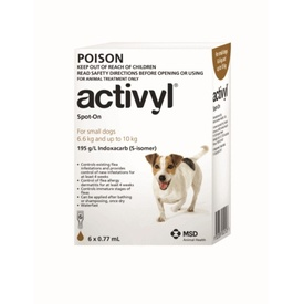 Activyl Spot-On Flea Control for Small Dogs 6.6 to 10kg (6 pack Brown)
