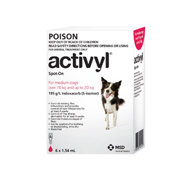 Activyl Spot-On Flea Control for medium Dogs 10kg - 20kg (6 pack) - Red
