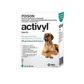 Activyl Spot-On Flea Control for Extra Large Dogs 40kg - 60kg - Green (6 Pack)