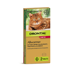 Drontal All-Wormer for Big Cats Up to 6kg - 2 Tablets