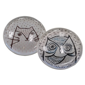 Ceramic Cat Food Dish with hand-painted Owl or Pussycat Designs