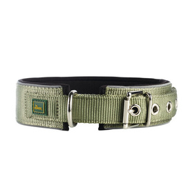 HUNTER Nylon Dog Collar Neopren Reflect - Green & Black