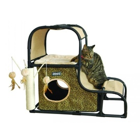 ZeeZ Feline Fun House with Scratchers and Hanging Toys