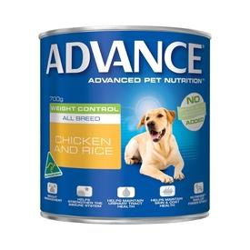 Advance Dog Food Adult Dog Weight Control Chicken and Rice 700g x 1 can