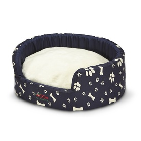 Snooza Buddy Pet Bed - Navy Paws'n'Bones with Wolly Cushion