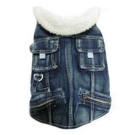 Pampet Denim Jacket for Dogs with Sherpa-Lined Collar