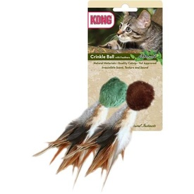 KONG Naturals Crinkle Ball wFeathers