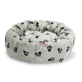 Snooza Cuddler Pet Bed - Polyplush Sliver & Black Paws