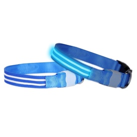 "DogLite ""Double Trouble"" LED Light-up Dog Collar- Blue Moon"
