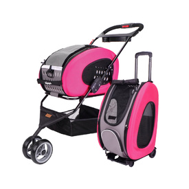 IBIYAYA 5-in-1 Combo EVA pet Carrier & Stroller - Hot Pink