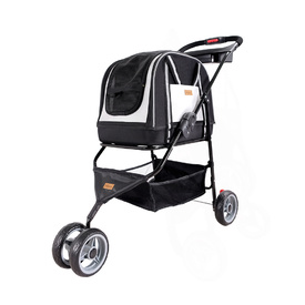 IBIYAYA Double Fun Pet Carrier & Stroller - Metallic Silver