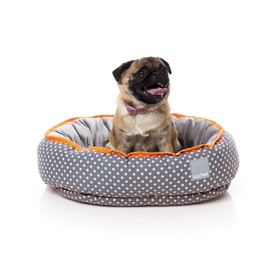 Fuzzyard Reversible Dog Bed - Tahiti Grey with Orange Spots - Medium