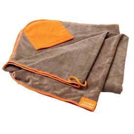 Fuzzyard Microfibre Pet Towel with Hand Pockets - Brown with Orange Trim