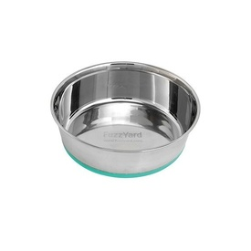 Fuzzyard Stainless Steel Bowl with Green Non-slip Base