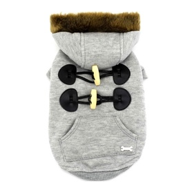 Grey Duffle Jacket for Small to Medium Dogs with Faux Fur Hoodie