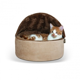 K&H Self Warming Hooded Kitty Bed Chocolate & Tan