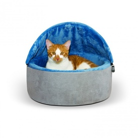 K&H Self Warming Hooded Kitty Bed Blue & Grey