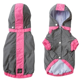 FuzzYard Raincoat ~ Waterproof Jacket in Rose Pink & Grey