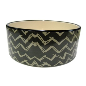 Deluxe Ceramic Pet Bowl for Food or Water - Chevron