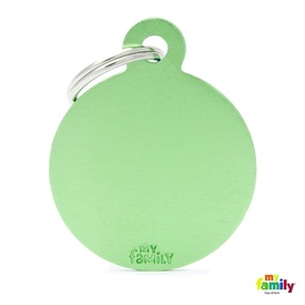 My Family Pet ID Tag Large Green Circle - Includes FREE Engraving + FREE Postage