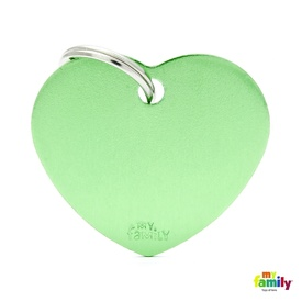 My Family Pet ID Tag  Large Green Heart - Includes FREE Engraving + FREE Postage