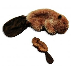 Kong Plush Beaver Squeaker Dog Toy with no Stuffing - Small