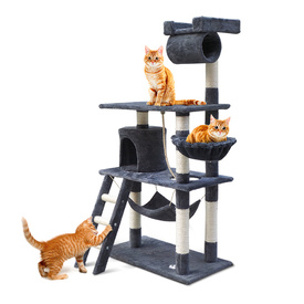 Super Cat Scratching Post and Play Centre - Grey 141cm