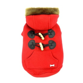 Red Duffle  Jacket for Small to Medium Dogs with Faux Fur Hoodie