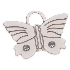 "Engraved Pet ID Tag ""Butterfly Bling Silver"" by Hamish McBeth"
