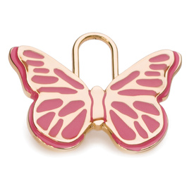 "Engraved Pet ID Tag ""Butterfly Pink Gold"" by Hamish McBeth"