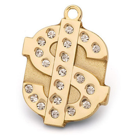 "Engraved Pet ID Tag ""Dollar Bling Gold"" by Hamish McBeth"