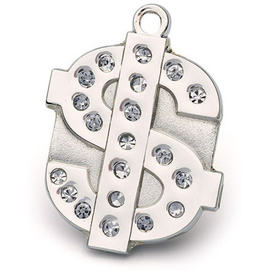 "Engraved Pet ID Tag ""Dollar Bling Silver"" by Hamish McBeth"