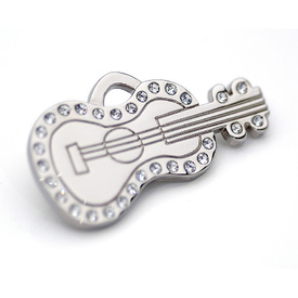 "Engraved Pet ID Tag ""Guitar Silver"" by Hamish McBeth"