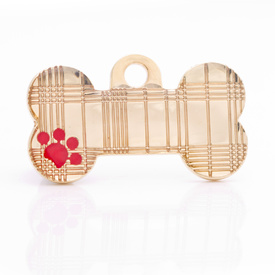 "Engraved Pet ID Tag ""Tartan Bone Gold"" by Hamish McBeth"