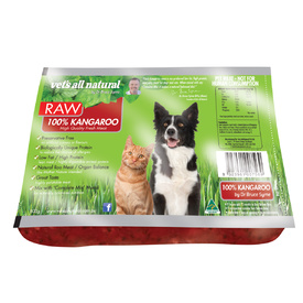 Vets All Natural RAW76 100% Kangaroo for Cats & Dogs 800g - Frozen - In Store Pickup Only