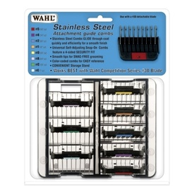 Wahl Stainless Steel Guide Combs - 8 Pack with Storage Box