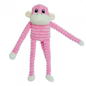 Spencer the Crinkle Monkey Dog Toy - Pink