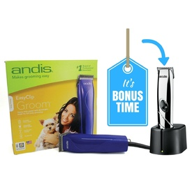 "Andis Easy Clip ""Groom"" 12-piece Pet Clipper Kit - BONUS Trimmer"