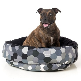 FuzzYard Reversible Dog Bed - Modernista Grey Hexagons