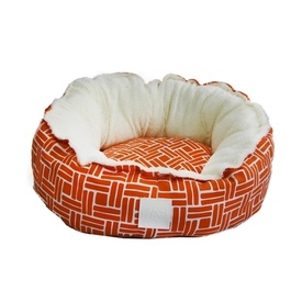 "Snug Cotton and Plush Dog Bed ""Orange Blitz"" Large + Free Cushions"