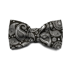 Zee Dog Black & White Paisley Bow Tie for Cats and Dogs