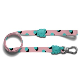 "Zee Dog ""Polka"" Pink with Teal Spots Dog Leash"