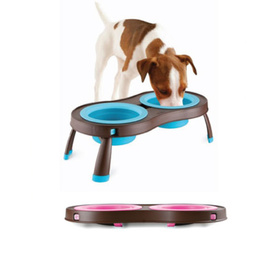 PopWare Elevated Pet Feeder with Double Collapsible Bowls